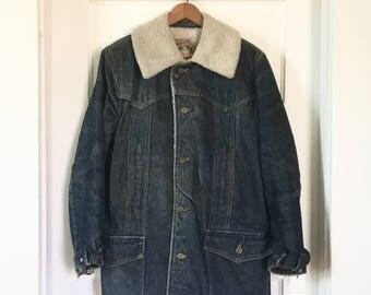 Vintage Lee Storm Rider Jacket, Mens S, Sherpa Lined