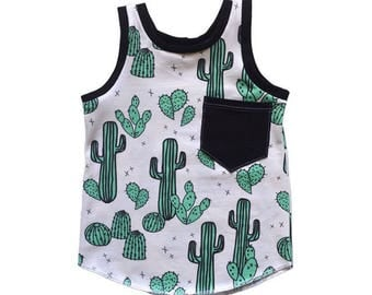 Cactus Print Baby Tank Top, Baby Sleeveless, Toddler Boy Gift, Baby Boy Gift, Toddler Shirt, Baby Tshirts, Baby Boy Clothes