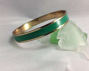 Vintage Gold Tone Bangle Bracelet Vintage Green Bangle Bracelet Vintage Stacking Bracelets Vintage Jewelry Antique Jewelry