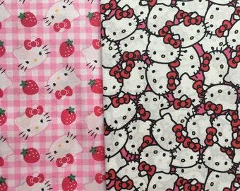 Fabric Hello Kitty Sanrio Half Yard Duo - 2 Patterns half yard each Kawai Fabric