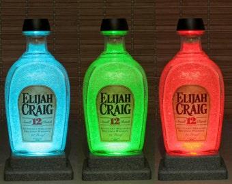 Elijah Craig 12 year Whiskey, Remote Control lamp, Color Changing LED, Bottle Lamp,  Bar Light, Bodacious Bottles, Liquor Bottle Lamp,