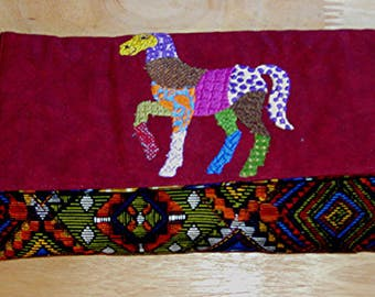 Handmade Billfold With embroidered Patchwork Horse