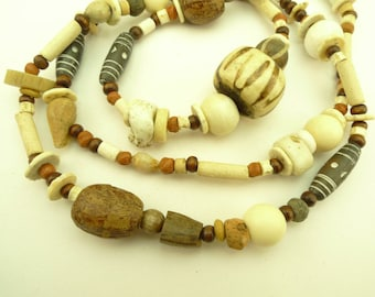 """36"""" strand mixed wood bone clay component  trade beads tribal Africa AJ-0024"""