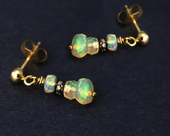 Diamond and Opal Earrings. Pave Diamond Earrings. Ethiopian Opal Earrings in Gold Filled or Sterling Silver. E-2205