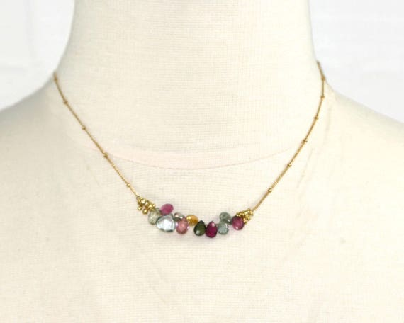 Gemstone Bar Necklace. Bridesmaid Gifts. Multi Color Tourmaline Necklace with Moonstone and Aquamarine.  NM-2189-20