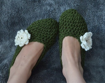 Cozy Olive and Cream Crocheted Womens Slipper -house shoes