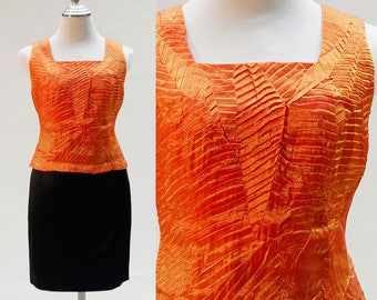 Sleeveless Shell Top, Blouse Vintage Clothing Women, Orange Blouse, Fitted silhouette, Back zip, Designer, Satin-Trim Shell Top