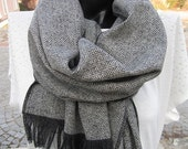 Sale Herringbone Winter scarf -Black Grey long Herringbone-Wool fabric scarf -tweed-Turkey 2015 winter FASHION women's,men's scarves-man fas