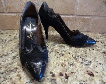 Vintage Black Suede Leather Made in Spain Suzanne Craig Stiletto Pumps 5.5