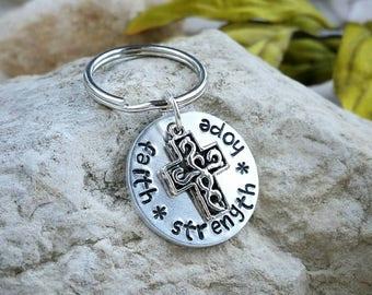 Faith Strength Hope, Religious Keychain, Spiritual Keychain, Key Chain, Inspirational Gift, Gift for Her, Gift for Him, Graduation Gift