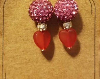 Shamballa Pink Earring with Red Glass Bead Heart  1 Pair Silver Finish Fishhook Style