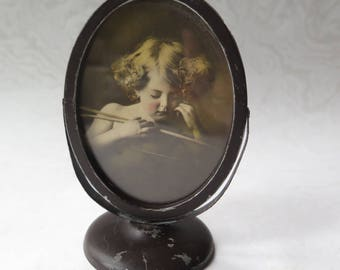 Oval Frame Cupid Asleep Sleeping Cupid Brown Metal Hinged Frame Vintage Print MB Parkinson Artist Family Photo Genealogy Mother's Day Gift