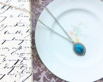 "Repurposed Vintage Turquoise Necklace, Vintage Blue and Silver Filigree Necklace, 18"" Silver Necklace, Upcycled Vintage"