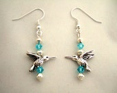 Cool Gift for Mom Turquoise Blue Earrings Adorable Silver Hummingbird Swarovski Crystal Earrings Unique Earrings Mother's Day Present