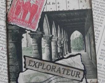 "SALE ACEO ATC one-of-a-kind Original ""Explorateur"" Artist Trading Card"