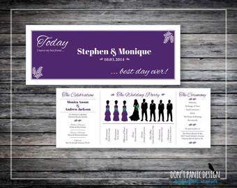 Silhouette Wedding Program Card - Fun Printable Wedding Program Card - Custom Colors - Printable Program Tall LS3
