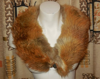 Vintage Red Fox Fur Collar Sleek 1930s Glamour Fluffy Fox Fur Collar for coat or alone 32 inches AS IS wear at inside neck