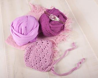 Photo Prop Set for newborns and babies,layers, wraps, bonnet & headband- Violet