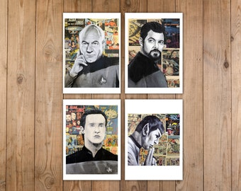 Star Trek Print Set of Captain Jean Luc Picard, William Riker and Data from The Next Generation along with Spock from The Original Series