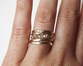 HOLIDAY SALE Four Hammered Gold Filled Tiny Circle Rings - Gold Rings - Stacking Rings