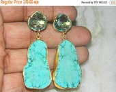 20off Earring-Faceted Aqua Quartz Heart Shape Earring-Howlite Turquoise Earring-slice Earring-Gold Edge Earring-Gemstone Earring