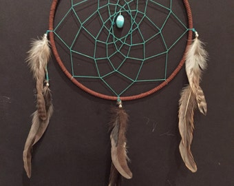Large Brown and Turquoise Dreamcatcher with turquoise and feathers, 9 inch dream catcher, turquoise teal dreamcatcher, great gift!