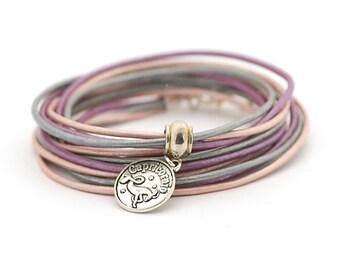 Capricorn Zodiac Sign Bracelet, Blue Silver Boho Hippie Bracelet, Astrology Bracelet, Pastel Bohemian Jewelry, Christmas gift for her