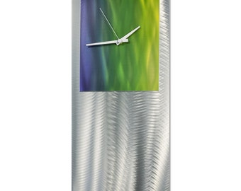 Artistic Modern Clock 'Elements Studio Clock' by Nate Halley - Metal Wall Decor Funky Art Clock on Ground and Colored Aluminum