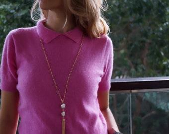 Dalia - Delicate Fresh Water Pearl and Tassel Chain Statement Necklace