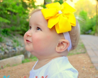 Newborn Headbands - Baby Headband - Yellow Bow - Baby Hairbow - Infant Headband - Toddler Headband - headband baby - Baby bows