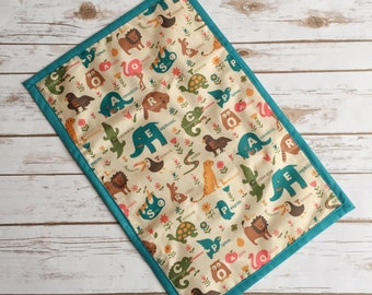 Baby changing mat, alphabet animals, nappy changing mat, diaper changing mat, baby shower gift, mum to be gift, matching baby changing set.