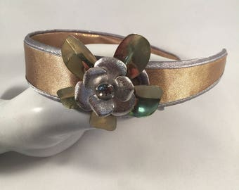 Headband, Hand Designed With Vintage Jewelry Pieces, Gold And Silver, Day Or Evening Wear, Decorative Hair Accessory