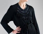 ON SALE Sequins collar black tunic // 80s // M/L size