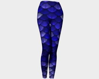 Mermaid Leggings, Womens Blue and Silver Large Scales Leggings, High Waisted Leggings, Bahasha Woman Leggings, Handmade Spandex Leggings