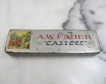 A.W. Faber Castell Metal Pencil Box, Antique 1930s Metal Tin fighting knights design, A.W. Faber Pencil Company, Nuremberg, Bavaria, Germany