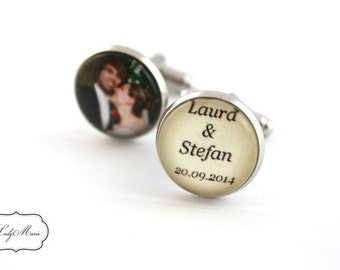 Cufflinks with text and photo for your wedding