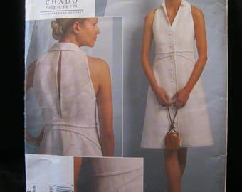 Vogue 1048, sizes 14 to 20, Chado Ralph Rucci, Vogue American Designer, A line, braid trim, top stitching, back slit, narrow shoulders, 2008