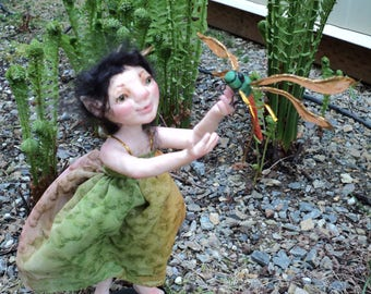 Sara, Garden fairy, fairie, pixie, keeper of the dragonfly OOAK