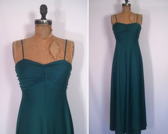 1970s green goddess gown • 70s emerald maxi dress • vintage sound of midnight party dress