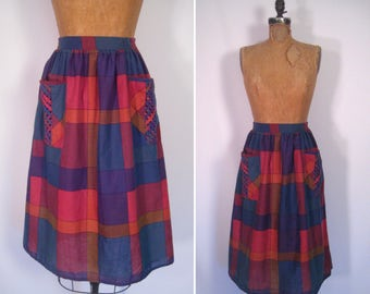 1970s madras plaid print skirt • 70s high waist skirt with oversized pockets • vintage lazy river skirt