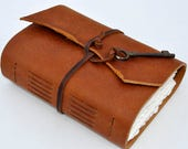 "RESERVED PATTI Handmade Leather Journal 5 1/2"" x 7 1/2"" - 140 lb watercolor paper"