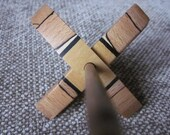 Mini Turkish Spindle in Pau Amarello, Spalted Beech and Black Rocklite - 12g