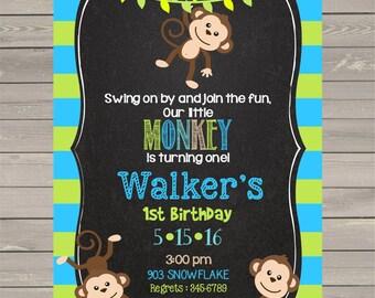Monkey Birthday Party Invitations with envelopes  chalk- chalkboard first birthday- any age first birthday- any age-