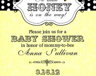 12 Bee Bumblebee Baby Shower invitations with envelopes -little honey- ANY COLORS