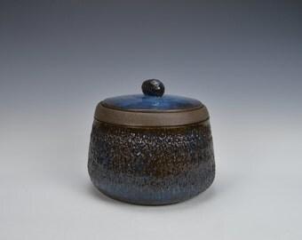 Ceramic cookie jar, stoneware lidded container, handmade storage jar