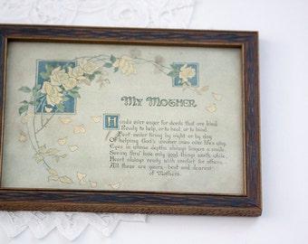 Vintage My Mother Art Print Poem