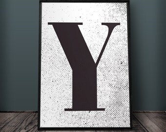 Letter Y Print, Letter Wall Art, Letter Wall Decor, Printable Letters, Large Letter Print, Typography Print