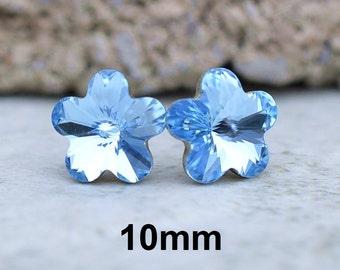 Aquamarine Flower Studs, Aqua Flower Studs, Rhinestone Earrings, Aqua Flower Crystal Studs, Rhinestone studs, Swarovski, 10mm earrings