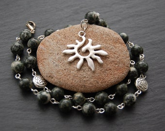 Stonehenge Stones Pagan Prayer Beads / Necklace with Preseli Bluestone. Myth Magic Pagan Wicca Witch Druid Solstice Sacred Britain Wales