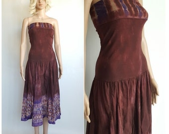 Fit and Flare Tie Dye Dress • Vintage 90s Stretch Tube Top Strapless Dress • Hippie Maroon Dress • Size S • Made in India